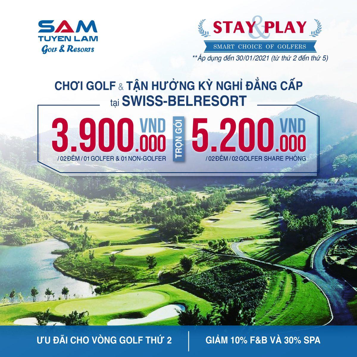 STAY & PLAY – Trọn gói chơi Golf và ở tại Swiss-Belresort