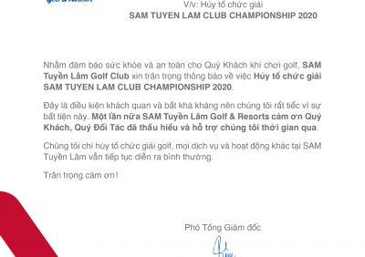 THÔNG BÁO: Hủy tổ chức giải SAM TUYỀN LÂM CLUB CHAMPIONSHIP 2020